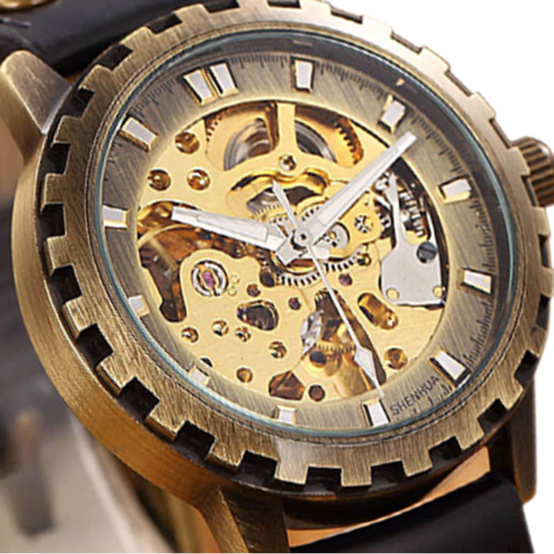 2016 Retro Bronze Sawtooth Case Skeleton Automatic Self-Winding Mechanical Watch With Leather Strap To Men Women