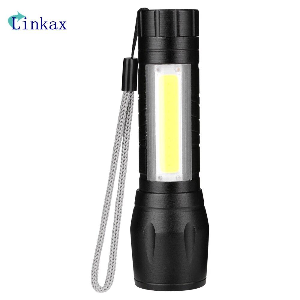 Mini 4 Mode COB LED Flashlight Waterproof LED Flashlight Zoom LED Torch Handy Light With Tail Rope Use AA Lighting lantern