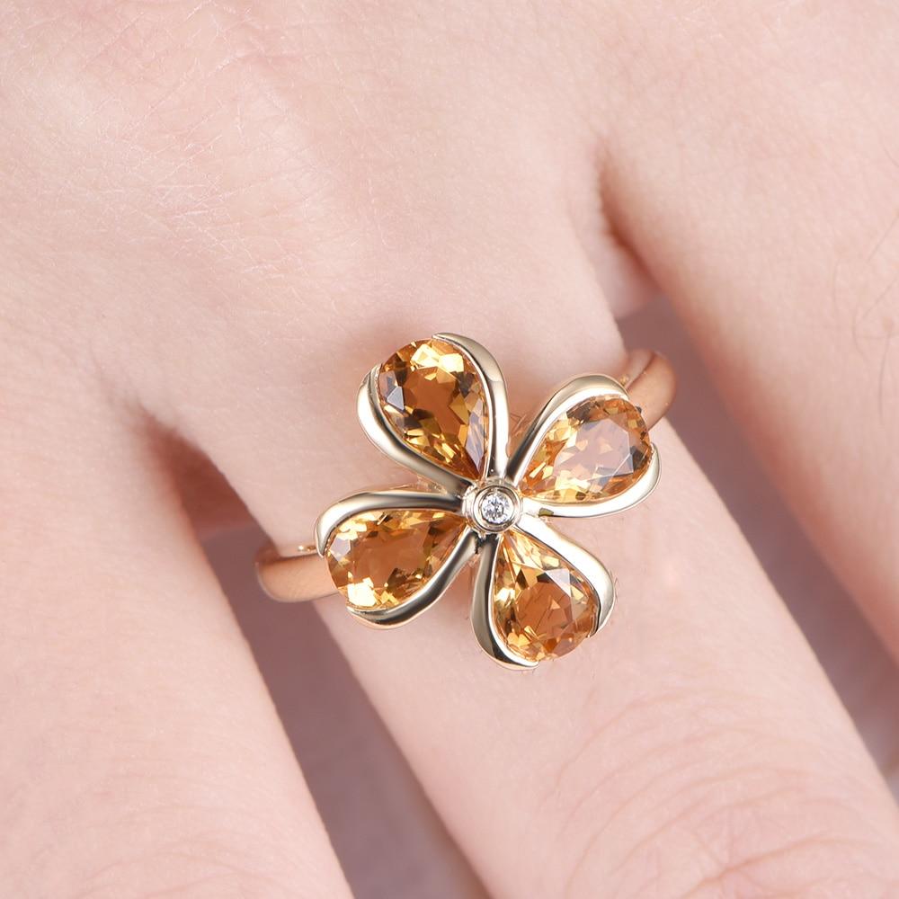 14k white rose yellow Gold Natural Genuine Citrine Diamond Flower ...