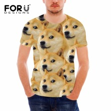 FORUDESIGNS Funny Emoji Japanese shiba inu dog face printed men t shirts casual summer short sleeves crossfit brand-clothing