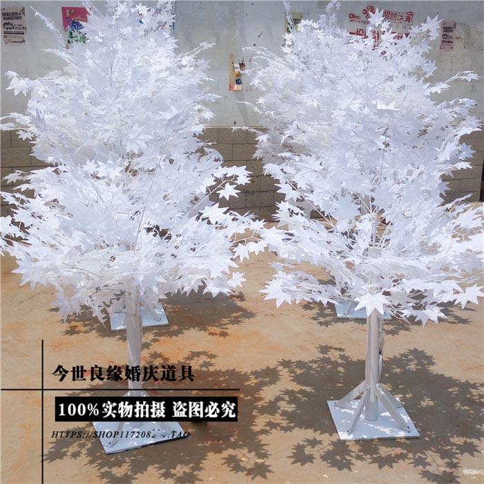 Árbol de imitación blanco de 1,8 m de altura para Bodas/hojas blancas, tienda de decoraciones de boda