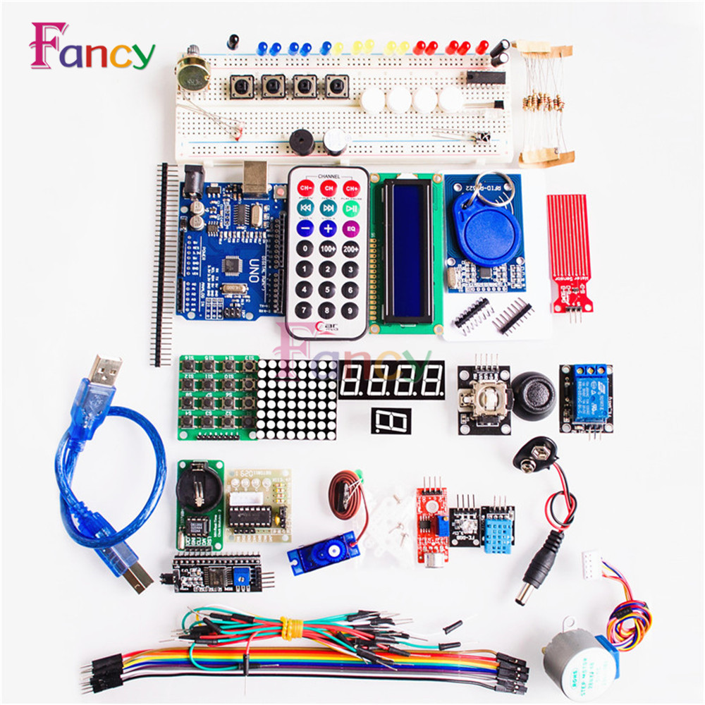 full Sets Starter Kit Basic Learning Suite UNO R3 Kit Upgraded Stepper Motor LCD1602 LED Jumper Wire For Arduino цены онлайн