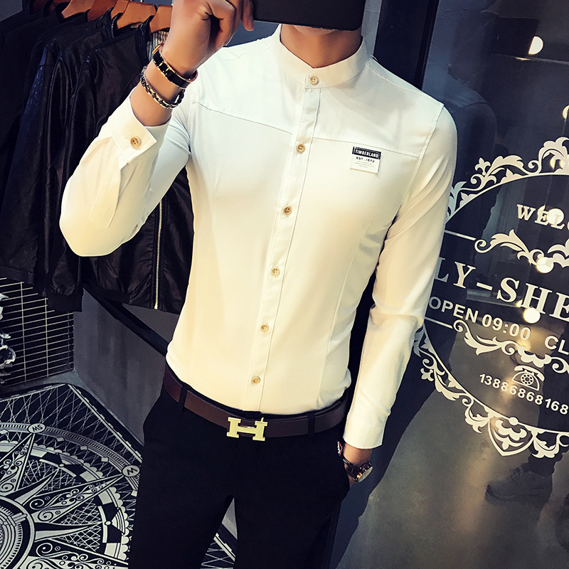 2018 Spring Men Dress Shirt Simple Stand Collar Solid Casual Mens Social Shirts Dress Long Sleeve Slim Fit Business Work Shirts
