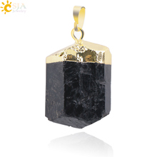 CSJA 1Pc Natural Black Tourmaline Ore Gem Stone Healing Reiki Bead Pendant Nunatak Raw Energy Chakra Natural Stone Pendants E018