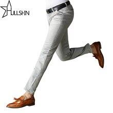Hullshin 2017High Quality Trousers Classic Men's Suit Pants Summer Grey Dress Pants Cotton Comfortable Men Business Pants yncx01