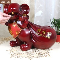 little mouse piggy bank Resin large capacity coin operated piggy bank home decoration supplies children's gift money saving box