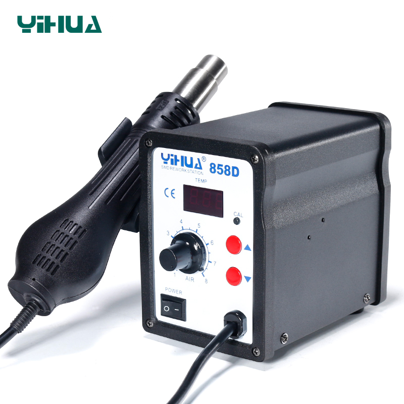 650W 110V Or 220V YIHUA 858D Hot Air Desoldering Station With 45W Soldering Iron Hot Air Gun Soldering Station h878a multifunction 110v hot air desoldering station with electric soldering iron and soldering iron stent for drying