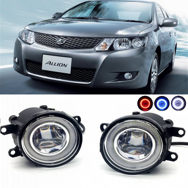 2 in 1 LED Angel Eyes DRL 3 Colors Daytime Running Lights Cut-Line Lens Fog Lights Lamp for Toyota Allion 2007-2017 for opel astra h gtc 2005 15 h11 wiring harness sockets wire connector switch 2 fog lights drl front bumper 5d lens led lamp