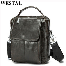 WESTAL Mini Shoulder Bag Men Leather Handle-top Messenger