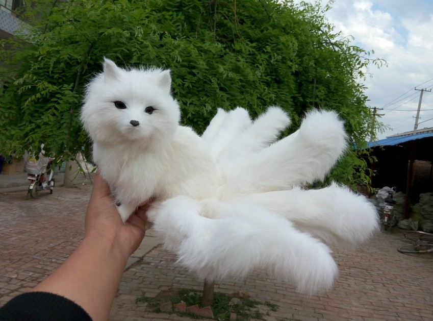 simulation cute white fox 35x18x15cm model polyethylene&furs fox model home decoration props ,model gift d440 simulation cute squatting white cat 35x15cm model polyethylene