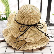 Summer Women Sun Hats Handmade Foldable Straw Casual UV Protection For Fashion Cap Beach chapeau femme ete