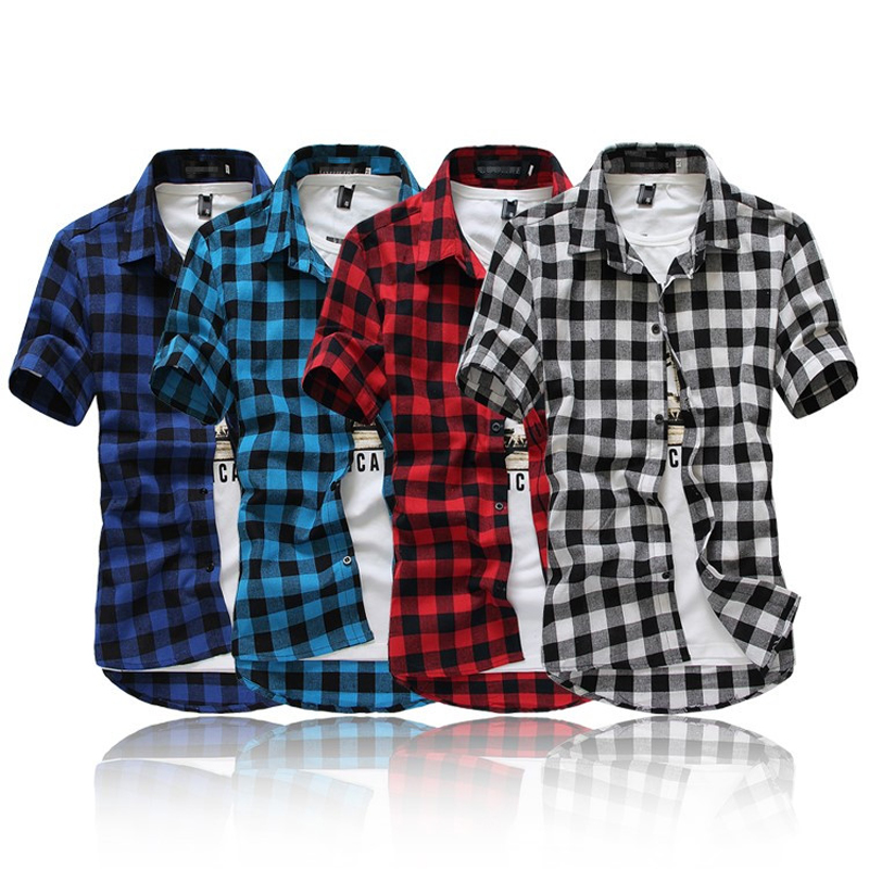 Mens checkered shirts picture more detailed picture for Red and white plaid shirt mens
