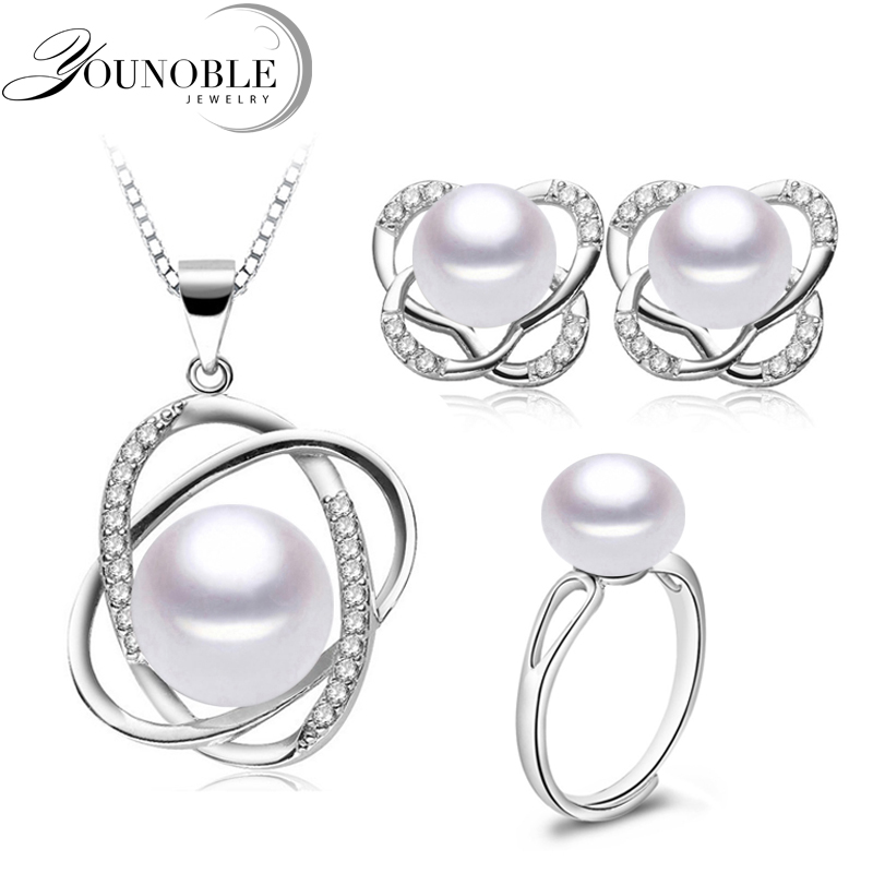 Pearl Jewelry Set Trendy Wedding Necklace Earrings 925 Silver Find For Women Mother Birthday Gifts White Pink In Sets From