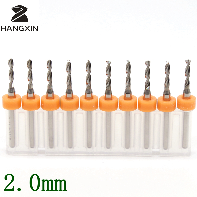 2.0mm PCB Drill Kit 10PCS Tungsten Carbide Metal CNC Router Wooden Leather Hand Tools Engraving Machine Accessories Milling tool 10pcs box 1 8 inch 0 8 3 17mm pcb engraving cutter rotary cnc end mill milling cuter drill bits