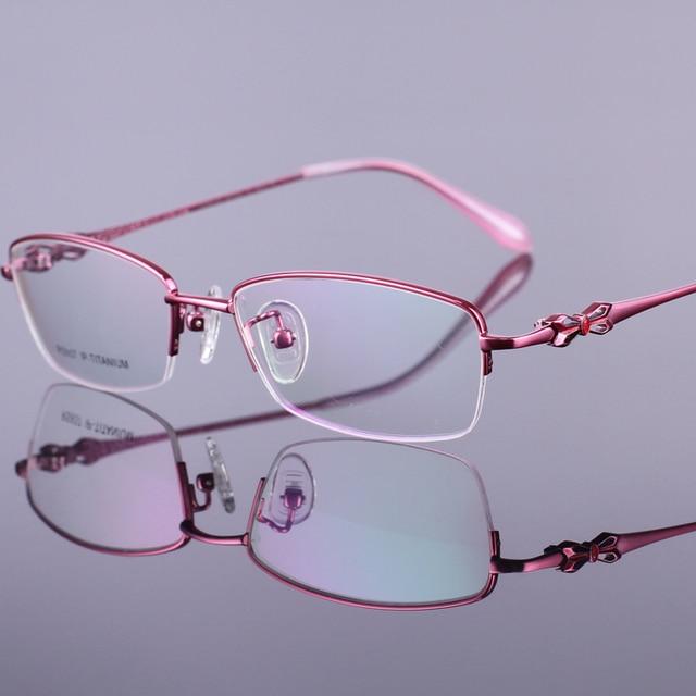 Nuevo 2016 de alto grado de moda pure titanium semi-sin montura ultraligero gafas marcos hermosa flor adornó anteojos populares