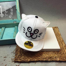 Attractive 2016 New Design New Kids Baby Children Cat Ears Cartoon Pattern Hip Hop Baseball Cap