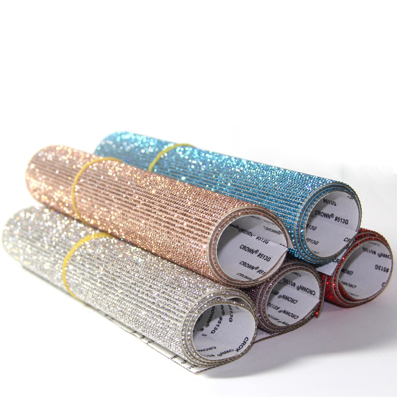 Self Adhesive 20000pcs Bling Glass Rhinestone Trim Crystal Hotfix Iron On Strass Mesh Banding For Car Mobile sticker 9.4*15.8''