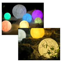 Foxanon Touch Sensor Light Bedside Lamp USB 3D Print Moon Lamp Lights Bedroom Romantic Table Lamps 2/16 Color Change Home Decor