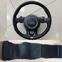 For Audi SQ5 Hand stitched Anti Slip Black Leather Black Suede Blue Thread Blue Marker DIY Steering Wheel Cover