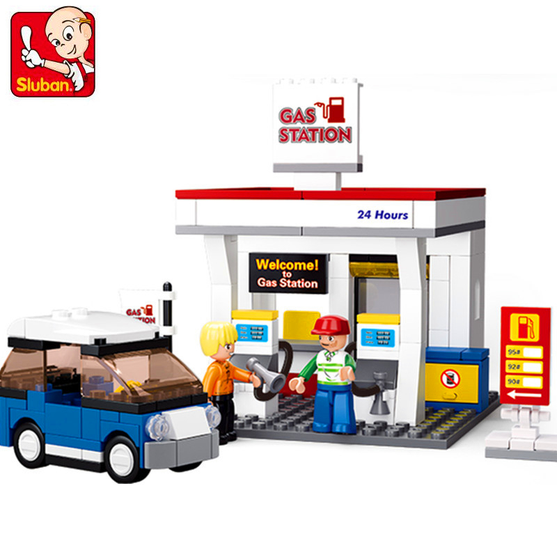 SLUBAN 0568 24Hours Gas Station SimCity Building Blocks Brick Set Compatible Technic Playmobil Toys For Children image