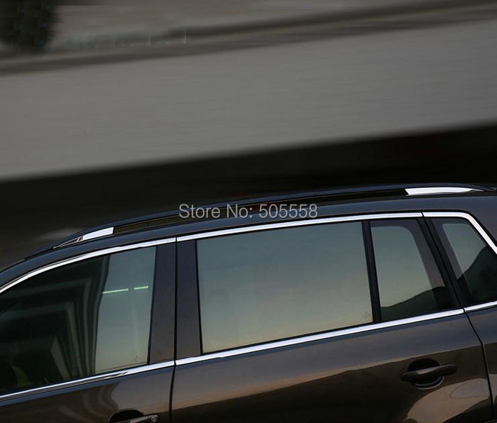 FOR 2010-2015 VW TIGUAN VW TIGUAN ROOF RACK TRIM COVER STICKER STAINLESS STEEL BEZEL AUTO ACCESSORIES