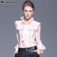 2015 Autumn Plus Size Clothing Of Perspectivity Basic Shirt Embroidery Lace Long Sleeve Shirt Chiffon Shirt