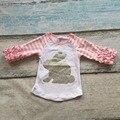 Новое поступление Пасха детские девушки печати розовый кролик милый полосатый хлопок бутик топ Футболка реглан одежда белый оборками симпатичные
