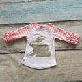 new arrival Easter baby girls print pink bunny cute striped cotton boutique top T-shirt raglan clothing white ruffles cute