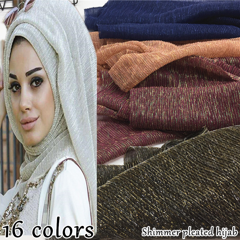 NEW shimmer pleated hijab scarf plain shiny crinkle shawl fashion muslim hijabs women maxi scarves shawls