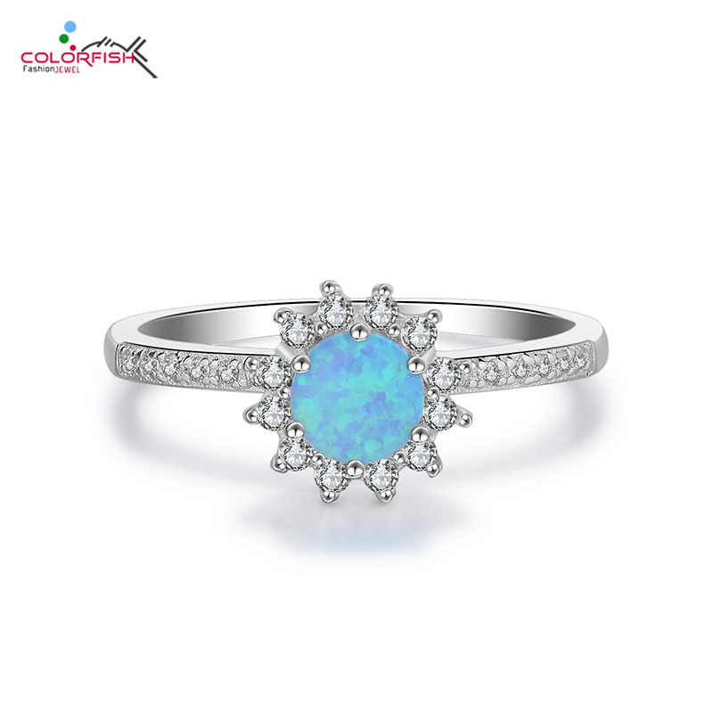COLORFISH Sterling Silver 925 Opal Rings For Women Fashion Jewelry Lotus-Shape Half Pave Zirconia Eternity Halo Engagement Ring