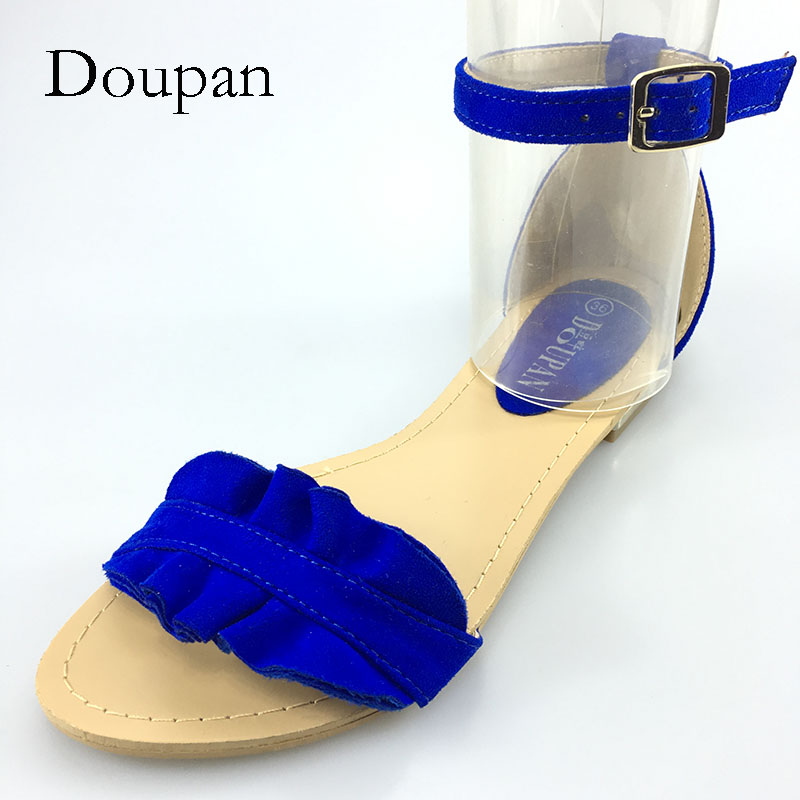 Doupan 2018 New Shoes Women Summer Lady Sandals Attactive City Pretty Urban Beauty Cover Heel Gold Buckle sandalias mujeres