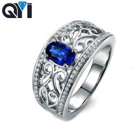 QYI Vintage Simulated Sapphire Carved Ring 1.25 ct Oval Cut Sona Blue Stone Women 925 Sterling Silver Engagement Wedding Rings