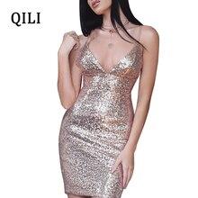 QILI Sexy V-neck Sequin Dress Women Sleeveless High Waist Spaghetti Strap Mini Dresses Party Club Glitter Female