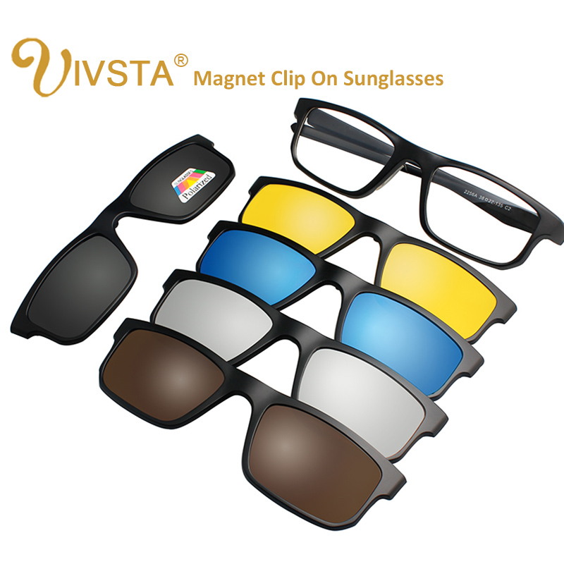 IVSTA 5 Clip On Sunglasses Men Polarized Magnet Sunglasses Magnetic Clips Prescription Optical Frame Spectacle Women Reading