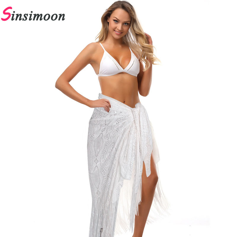 White Fringe Women Cover Up Beach Long Dress Knitting Swimwear Mesh Beach Dress Tunic Robe Coverups Fringe Bathing Suit Swimwear