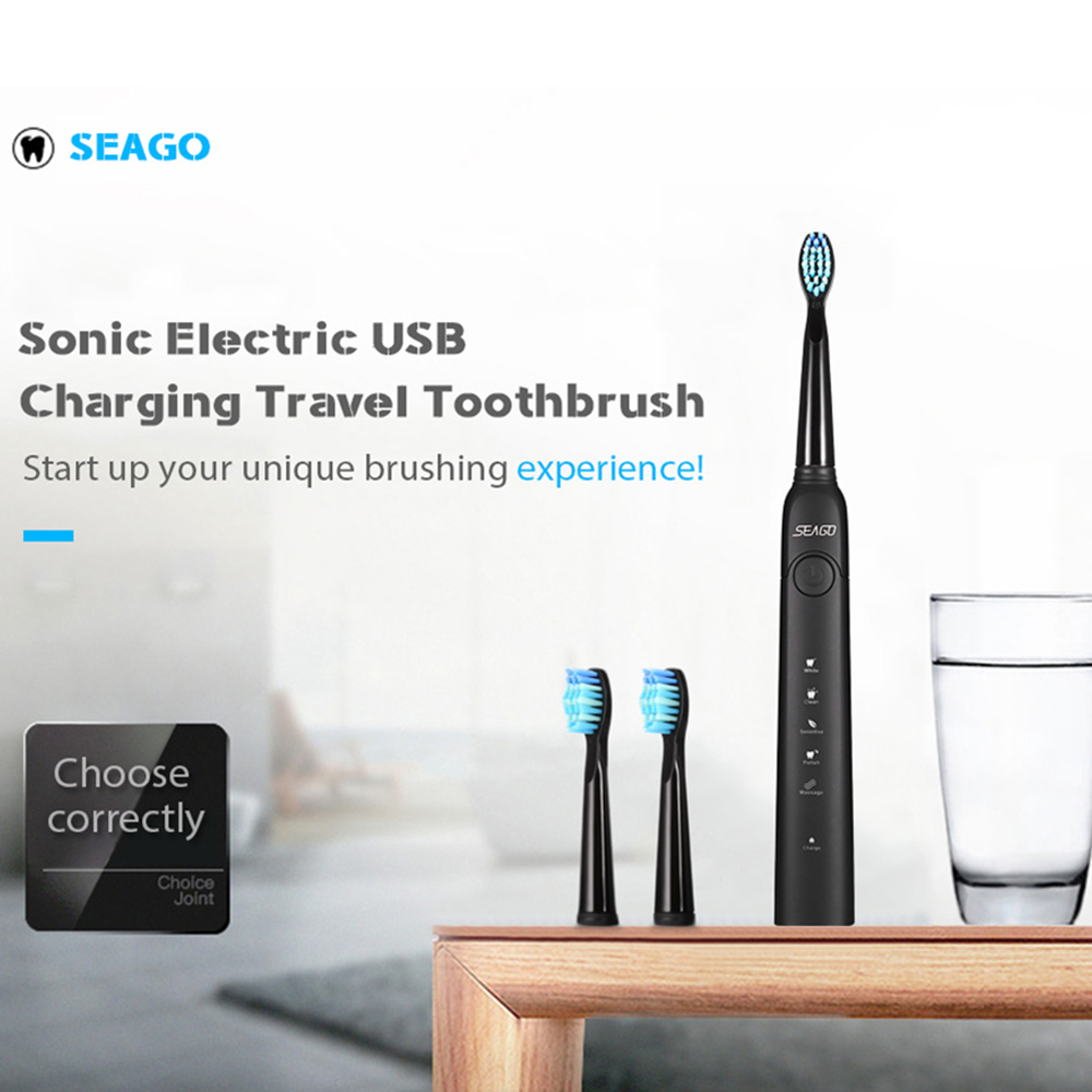 SEAGO SG-949 Sonic Electric Toothbrush USB Rechargeable With 3 Brush Heads Silicone Waterproof Adult Kids Automatic Tooth Brush