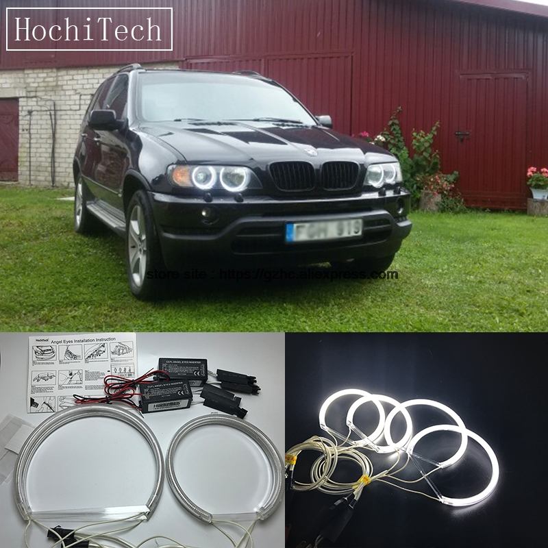 HochiTech For Bmw <font><b>E53</b></font> X5 1999-2004 Ultra Bright Day Light DRL CCFL Angel Eyes Demon Eyes Kit Warm White Halo Ring 127.5mm&158mm image