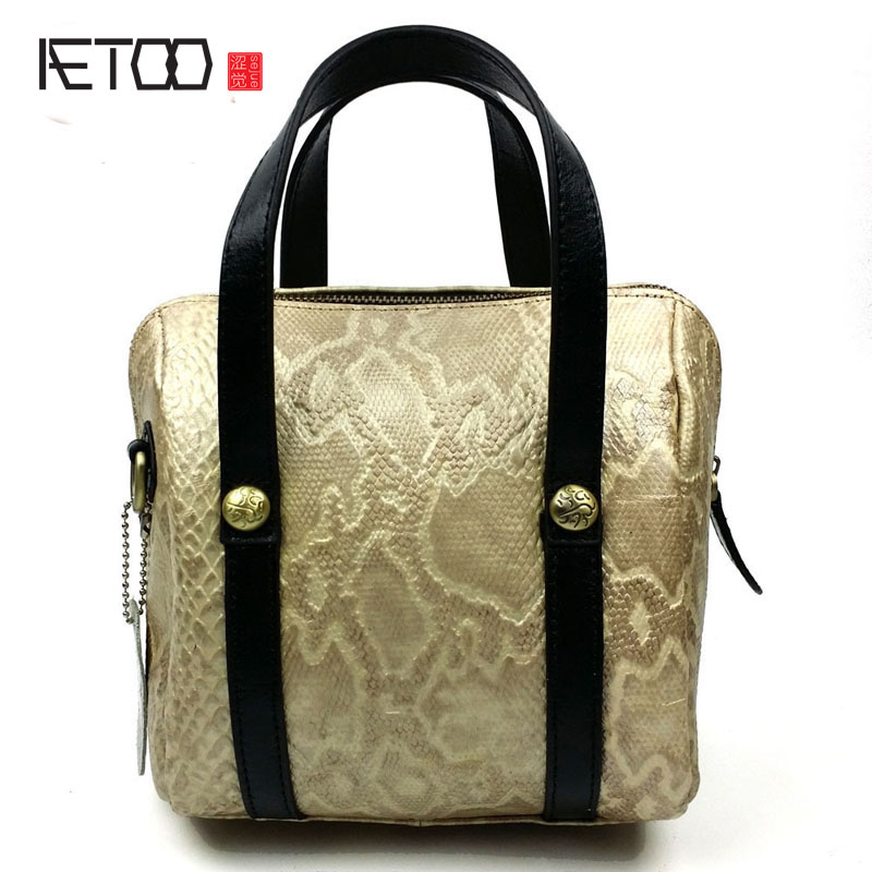 AETOO The new high-end fashion leather handbags women's handbags shoulder Messenger bag ladies tide bag aetoo the new national style classical leather handbags ladies retro fashion handbag shoulder messenger bag
