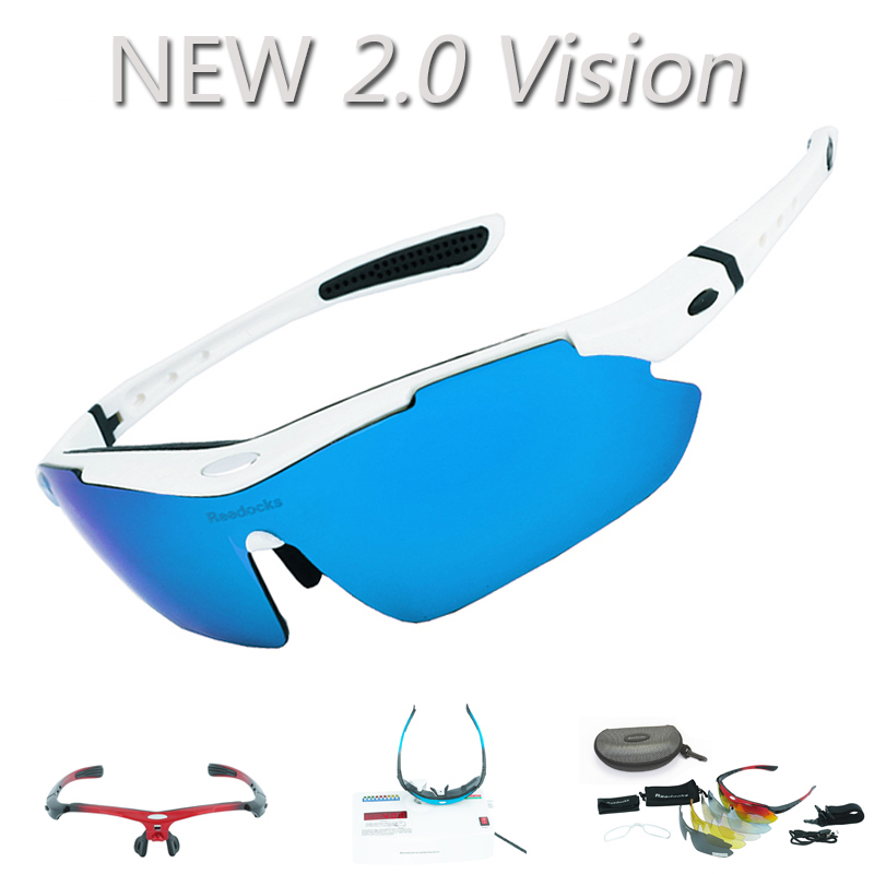 Reedocks NEW 2.0 Vision 5 Lens Cycling Glasses Polarized Myopia Frame Sport Hiking Eyewear Riding Bicycle Bike UV400 Sunglasses half frame male pure titanium with polarized glasses myopia glasses sunglasses night vision clip titanium frame magnet driving
