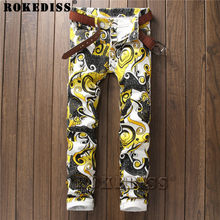 mens overalls fashion 2017 Spring and Autumn New products Slim printing In the waist Foot pants personality Tight trousers C181