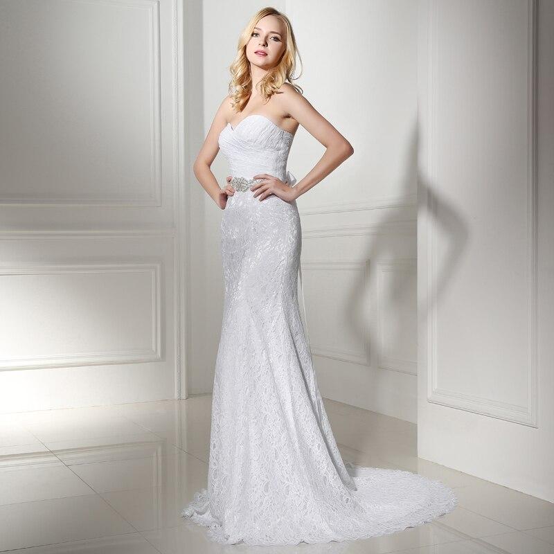 Falte Bridal Brautkleid Echt Fotos Weiße Spitze Günstige Mermaid ...