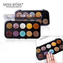 Brand MISS ROSE glitter eye shadow tray gold spring pink high gloss color makeup