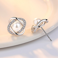 Imitation Pearl 925 Silver Stud Earrings Jewelry For Women