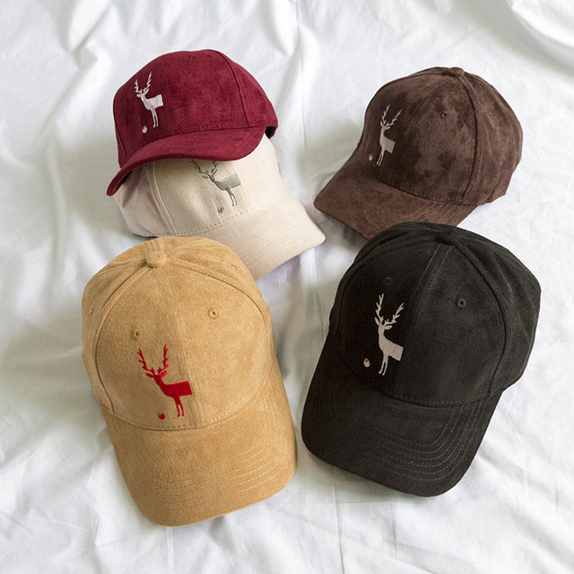 Vintage Man Animal Bone Baseball Caps Suede Camel Color Christmas Half Deer dad  Hats Casquette Gorras Snapback Cap Winter 4bc2af5a8bf