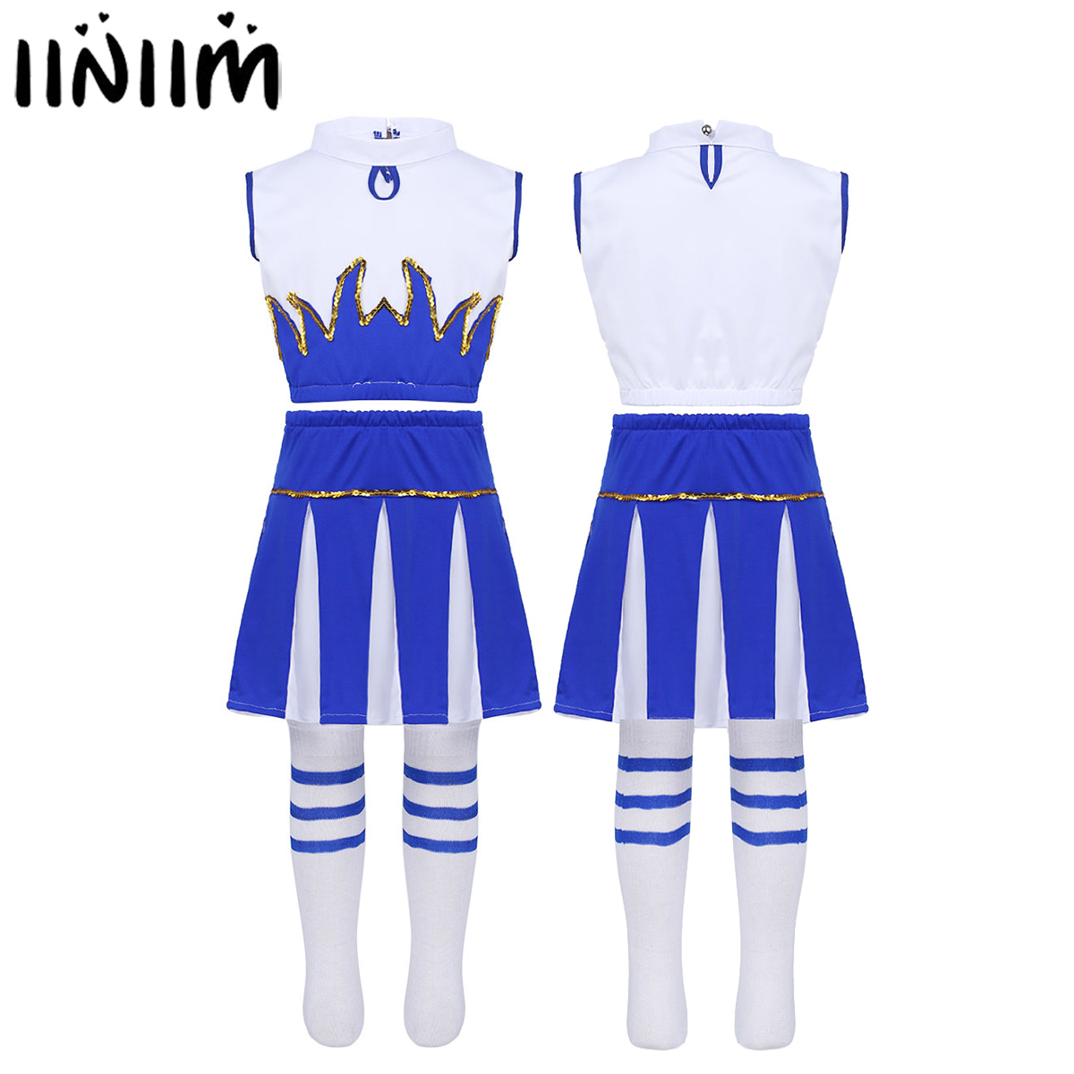 Kids Girls Cheerleader Costume Ballerina Sleeveless Crop Top with Skirt and Socks for Cosplay Party Ballroom Jazz Dancewear