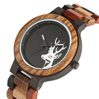 New Arrivals Bamboo Wooden Quartz Watches for Men Women Wristwatch Deer Dial Clock for Male Female Fashion Gifts