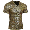 Novelty Night Club Mens T shirts Bronzing Leopard Print V Neck Casual Skinny Male T Shirt Tops Tee Shirts Gold Sliver For Men