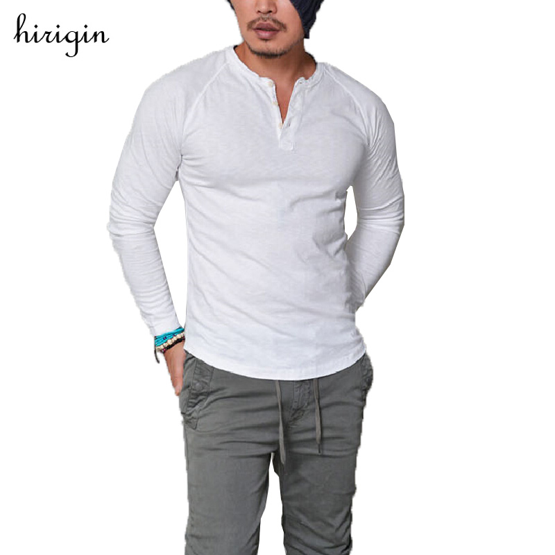 Hot 2017 New Arrival Spring Autumn Man Solid V-Neck Slim Fit Long Sleeve TShirt Men Trend Casual T Shirts Plus Size 3XL