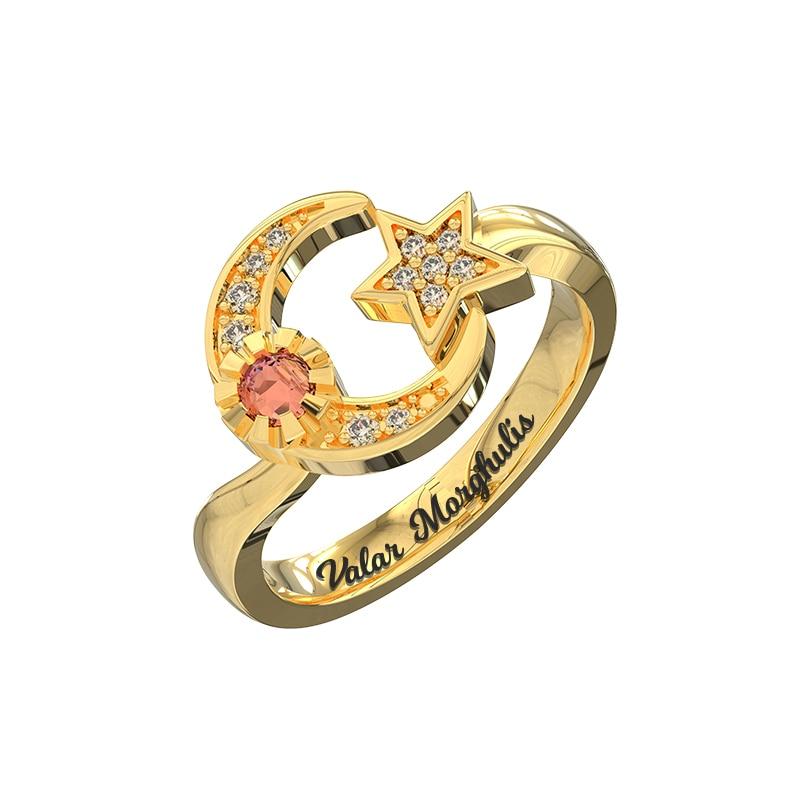 18th Birthday Necklace Sterling Silver Custom Birthstone: AILIN Custom Engraved Moon And Star Birthstone Ring Gold