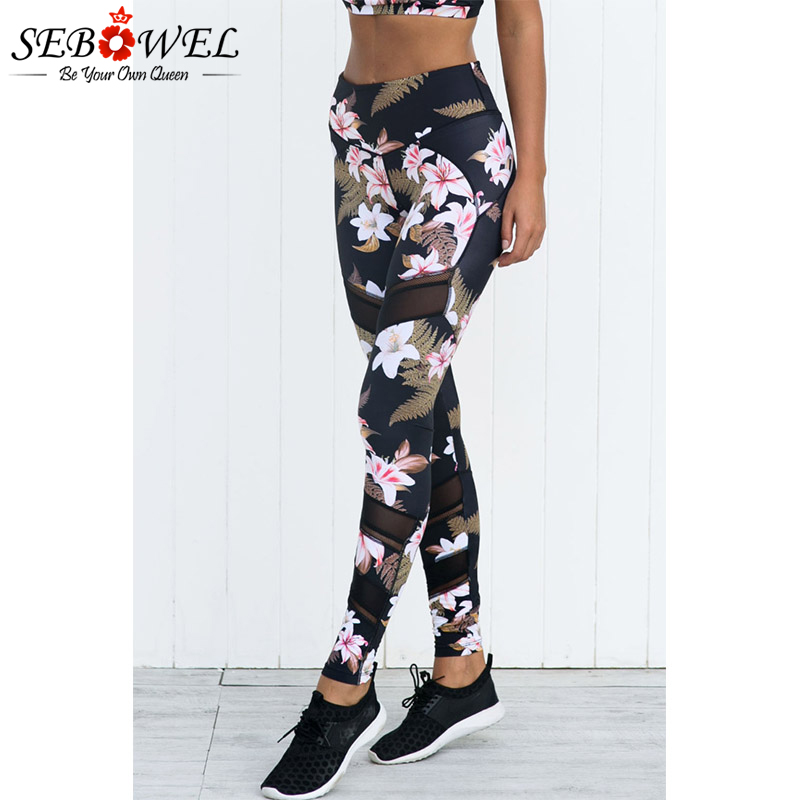 SEBOWEL Floral Print Mesh Yoga Pants Slim Jeggings Women Heart Shape Sport Fitness Workout Yoga Leggings Running Skinny Trousers peppa pig find the hat sticker book